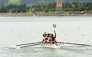 Sydney Olympics 2000 - Penrith Lakes, NSW.  GBR M4- wave to the crowd after receiving their Olympic Gold Medals Tim Foster, Matthew Pinsent, Steve Redgrave and James Cracknell.© 2000 All Rights Reserved - Peter Spurrier Sports Photo. .Tel 44 (0) 1784-440 771  .Mobile 44 (0) 973 819 551.email images@intersport-images.com 2000 Olympic Regatta Sydney International Regatta Centre (SIRC) 2000 Olympic Rowing Regatta00085138.tif