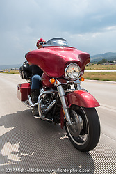 Melissa Shoemaker on Aidan's Ride to raise money for the Aiden Jack Seeger nonprofit foundation to help raise awareness and find a cure for ALD (Adrenoleukodystrophy) during the annual Sturgis Black Hills Motorcycle Rally. I-90 between Rapid City and Sturgis, SD, USA. Tuesday August 8, 2017. Photography ©2017 Michael Lichter.