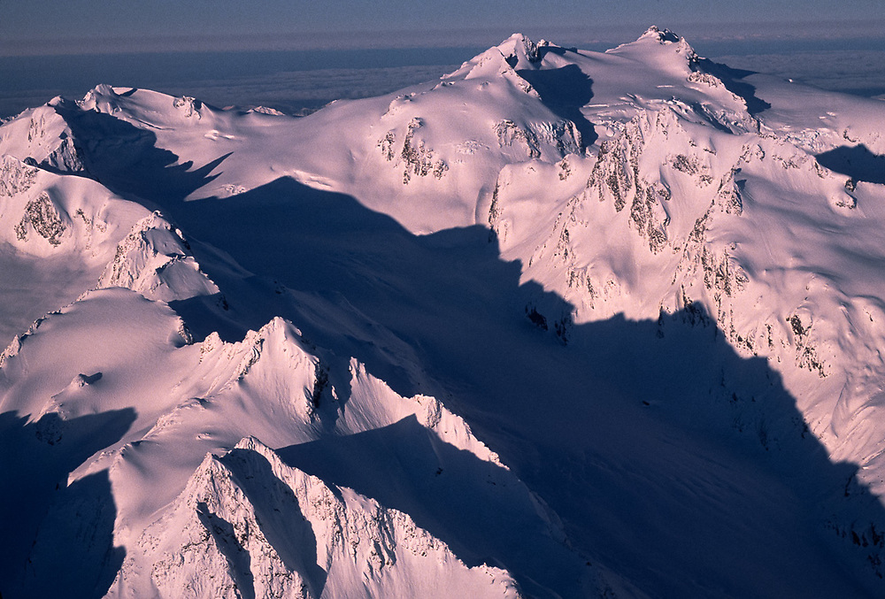 Aerial view, Mount Olympus, morning light, winter, Olympic National Park, Washington, USA