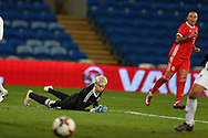 Oksana Zheleznyak, the Kazakhstan goalkeeper makes a save to deny Natasha Harding of Wales ®.Wales Women v Kazakhstan Women, 2019 World Cup qualifier match at the Cardiff City Stadium in Cardiff , South Wales on Friday 24th November 2017.    pic by Andrew Orchard
