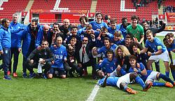 May 17, 2018 - United Kingdom - Italy U17s  players celebrates they win over Belgium U17s.during the UEFA Under-17 Championship Semi-Final match between Italy U17s against Belgium U17s at New York Stadium, Rotherham United FC, England on 17 May 2018. (Credit Image: © Kieran Galvin/NurPhoto via ZUMA Press)