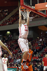 16 December 2012: Jon Ekey rattles the rim  during an NCAA men's basketball game between the Morgan State Bears and the Illinois State Redbirds (Missouri Valley Conference) in Redbird Arena, Normal IL
