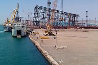 Azerbaijan, Baku. An oil rig substructure under construction at the SPS base west of Baku.