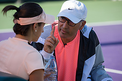 March 22, 2018 - Miami, Florida, United States - Caroline Garcia, from France, listening to her coach during her match against Alison Riske from the US during his first round macth at the Miami Open  on March 23, 2018 in Key Biscayne, Florida. Riske defeated Garcia 6-3, 6-1 (Credit Image: © Manuel Mazzanti/NurPhoto via ZUMA Press)