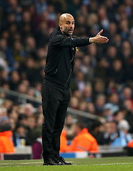 Manchester City manager Pep Guardiola reacts after Leroy Sane's goal is ruled offside