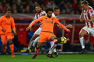 Mohamed Salah of Liverpool gets his foot to the ball. Premier league match, Stoke City v Liverpool at the Bet365 Stadium in Stoke on Trent, Staffs on Wednesday 29th November 2017.<br /> pic by Chris Stading, Andrew Orchard sports photography.