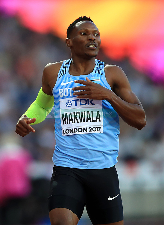 Botswana's Isaac Makwala during the Men's 400m semi-final heat three during day three of the 2017 IAAF World Championships at the London Stadium. PRESS ASSOCIATION Photo. Picture date: Sunday August 6, 2017. See PA story ATHLETICS World. Photo credit should read: John Walton/PA Wire. RESTRICTIONS: Editorial use only. No transmission of sound or moving images and no video simulation.