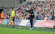 Swansea City Manager Garry Monk shouting from the touchline in the first half.<br /> Barclays Premier league match, Swansea city v Southampton at the Liberty stadium in Swansea, South Wales on Saturday 3rd May 2014.<br /> pic by Phil Rees, Andrew Orchard sports photography.