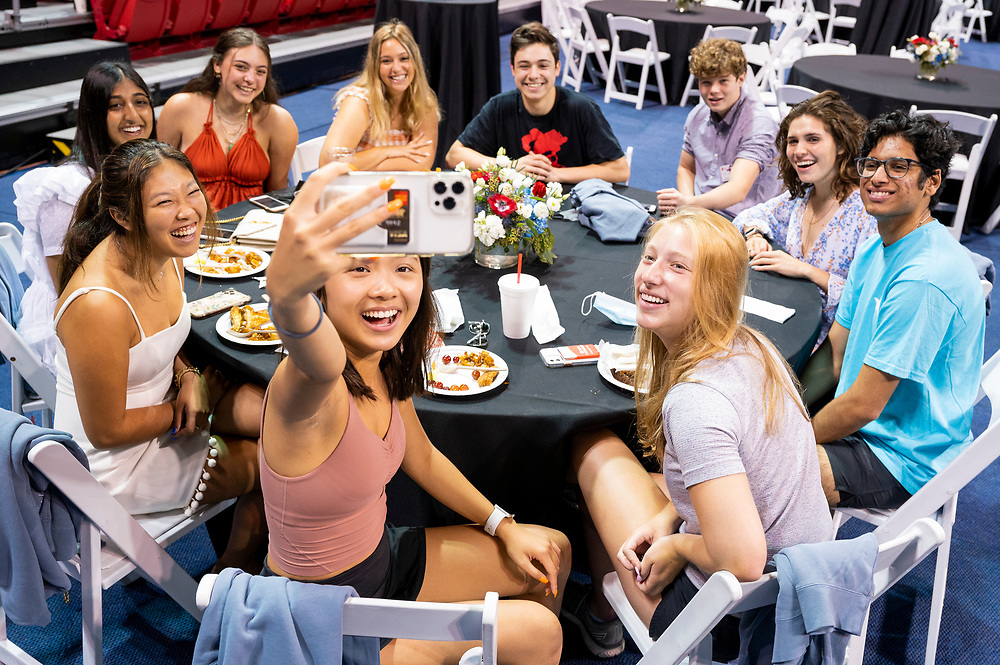 SMU Class of 2024 students enjoy brunch inside Moody Coliseum, Sunday, August 22, 2021 on the SMU Campus.