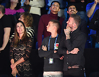 Tennis - 2018 Nitto ATP Finals at The O2 - Day Eight<br /> <br /> Final Singles: Novak Djokovic (SRB) vs. Alexander Zverev (GER)<br /> <br /> David Beckham enjoys Zverev's victory speech on the big screen.<br /> <br /> COLORSPORT/ASHLEY WESTERN