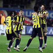 Fenerbahce's Selcuk SAHIN (2ndR), Ozer HURMACI (2ndL),Gokhan GONUL (R) celebrate victory during their Turkish superleague soccer derby match Galatasaray between Fenerbahce at the AliSamiYen Stadium at Mecidiyekoy in Istanbul Turkey on Sunday, 28 March 2010. Photo by TURKPIX