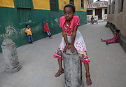 A young girl is photographed in Stone Town in Zanzibar, Tanzania. Julia