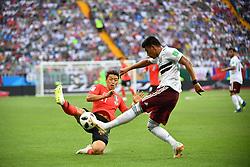 ROSTOV-ON-DON, June 23, 2018  Hwang Heechan (L) of South Korea vies with Jesus Gallardo of Mexico during the 2018 FIFA World Cup Group F match between South Korea and Mexico in Rostov-on-Don, Russia, June 23, 2018. (Credit Image: © Li Ga/Xinhua via ZUMA Wire)