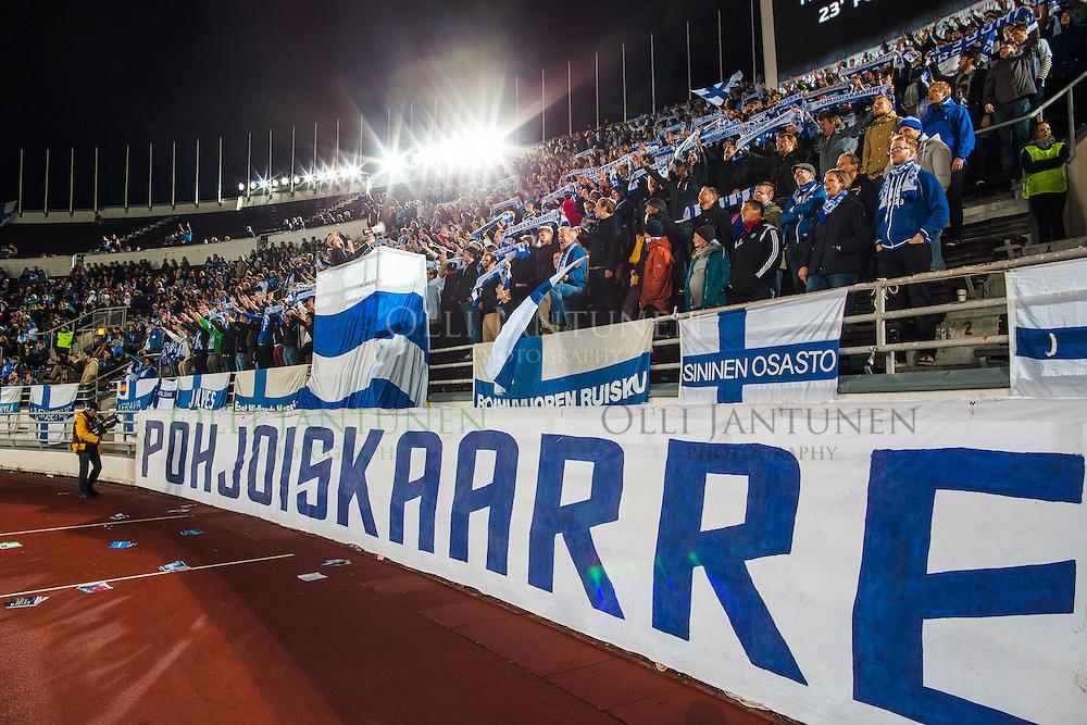 Pohjoiskaarre EM2016-karsintaottelussa Suomi-Färsaaret. Olympiastadion, Helsinki, Suomi. 7.9.2015.