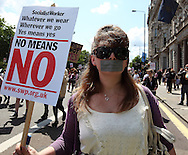 """Hundreds of women marched though London over their right to """"dress like a slut"""" London, UK, 11/06/2011"""