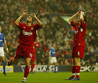 Fotball<br /> Premier League 2004/2005<br /> 06.11.2004<br /> Foto: SBI/Digitalsport<br /> NORWAY ONLY<br /> <br /> Liverpool v Birmingham City<br /> <br /> Liverpool's Luis Garcia cant believe he has just missed
