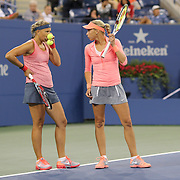 Andrea Hlavackova, (right) and Lucie Hradecka, Czech Republic, winning the Women's Doubles Final at the US Open. Flushing. New York, USA. 7th September 2013. Photo Tim Clayton