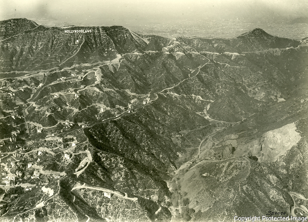 1929 Aerial of The Union Rock Quarry, in Brush Canyon, which later became the Bronson Caves at the northern end of Bronson Ave.