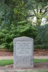 grave stone honoring the location of the old State House in Columbia, South Carolina