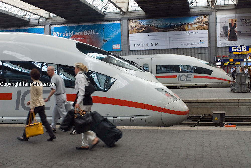 German high speed ICE trains at Munich railway station