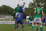 Jason Knight of Republic of Ireland (6) wins the header during the UEFA European Under 17 Championship 2018 match between Bosnia and Republic of Ireland at Stadion Bilino Polje, Zenica, Bosnia and Herzegovina on 11 May 2018. Picture by Mick Haynes.