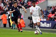 England's Marcus Rashford running down wing  during the UEFA Nations League match between England and Croatia at Wembley Stadium, London, England on 18 November 2018.
