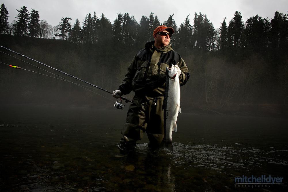 Photo of Steelhead fishing on the Sandy River near Portland, OR.