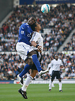 Photo: Steve Bond.<br />Derby County v Everton. The FA Barclays Premiership. 28/10/2007. Joseph Yobo (L) challanges hard on Giles Barnes (R)