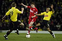 Fotball<br /> England 2004/2005<br /> Foto: SBI/Digitalsport<br /> NORWAY ONLY<br /> <br /> Watford v Southampton<br /> Carling Cup Semi Final. 25/01/2005.<br /> <br /> John Arne Riise breaks past Gavin Mahon