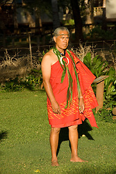 Hawaii: Molokai, elder leading ceremonies, people at protocol spiritual ceremonies at Kaupoa Beach..Photo himolo205-71958..Photo copyright Lee Foster, www.fostertravel.com, lee@fostertravel.com, 510-549-2202