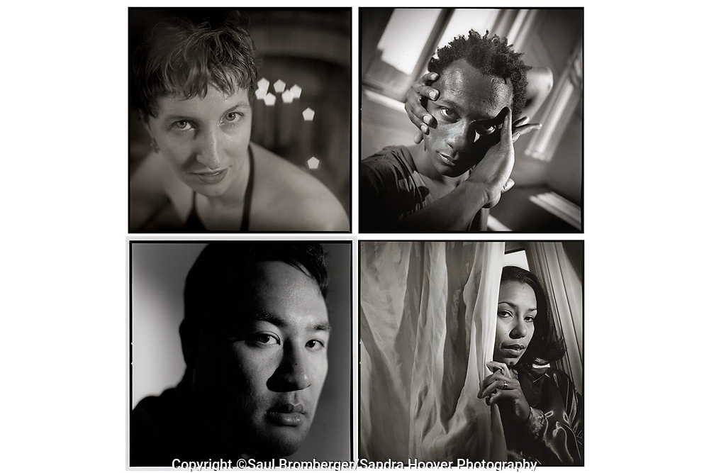 Client: San Francisco Bay Guardian -- Portraits of dancer Brechin Flournoy, top left; dancer Robert Moses, top right; record producer Dan 'the Automator' Nakamura, bottom left; and, actress Margo Hall, bottom right.