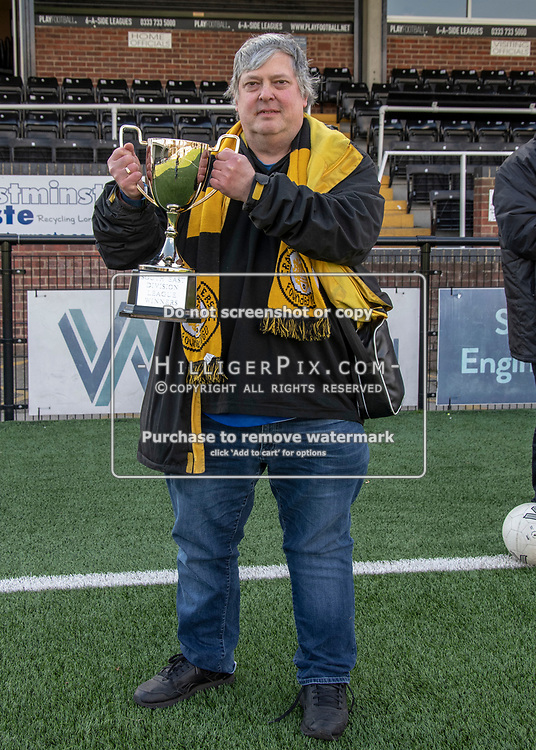 BROMLEY, UK - APRIL 13: Bostik League South East match between Cray Wanderers FC and Ashford United FC at Hayes Lane on April 13, 2019 in Bromley, UK. (Photo: Jon Hilliger)