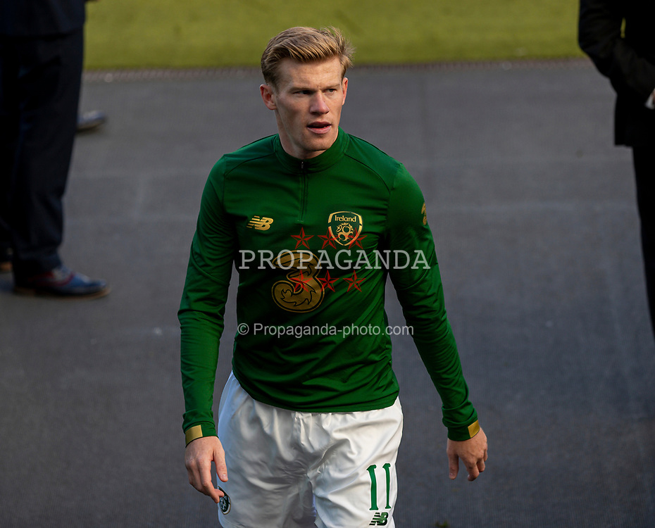 DUBLIN, REPUBLIC OF IRELAND - Sunday, October 11, 2020: Republic of Ireland's James McClean before the UEFA Nations League Group Stage League B Group 4 match between Republic of Ireland and Wales at the Aviva Stadium. The game ended in a 0-0 draw. (Pic by David Rawcliffe/Propaganda)