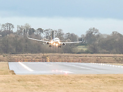High Winds at Edinburgh Airport, Tuesday 7th January 2020<br /> <br /> Planes struggled on landing and take-off as high winds hit Edinburgh Airport today<br /> <br /> Pictured: A Ryanair flight lands <br /> <br /> Alex Todd | Edinburgh Elite media