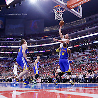 21 April 2014: Los Angeles Clippers forward Blake Griffin (32) goes for the skyhook over Golden State Warriors forward Marreese Speights (5) during the Los Angeles Clippers 138-98 victory over the Golden State Warriors, during Game Two of the Western Conference Quarterfinals of the NBA Playoffs, at the Staples Center, Los Angeles, California, USA.