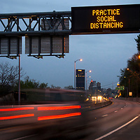 A traffic sign on Rt. 28 with the city skyline in the background during the stay at home order due to Covid 19 on Tuesday, May 5, 2020 in Pittsburgh.  Photo by Archie Carpenter/UPI
