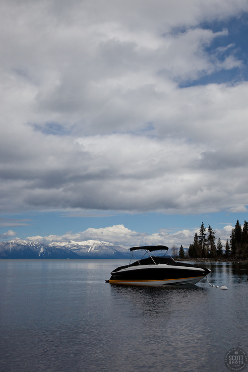 """""""Boat on Lake Tahoe 1"""" - This boat was photographed on the West shore of Lake Tahoe."""