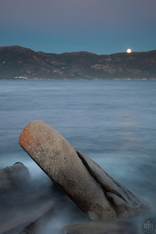 """""""Full Moon Over Lake Tahoe 10"""" - These boulders and full moon were photographed at Crystal Point in Crystal Bay, Lake Tahoe."""