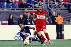 September 22, 2018 - Foxborough, MA, U.S. - FOXBOROUGH, MA - SEPTEMBER 22: Chicago Fire midfielder Aleksandar Katai (10) steals the ball from New England Revolution defender Brandon Bye (15) during a match between the New England Revolution and the Chicago Fire on September 22, 2018, at Gillette Stadium in Foxborough, Massachusetts. The teams played to a 2-2 draw. (Photo by Fred Kfoury III/Icon Sportswire) (Credit Image: © Fred Kfoury Iii/Icon SMI via ZUMA Press)