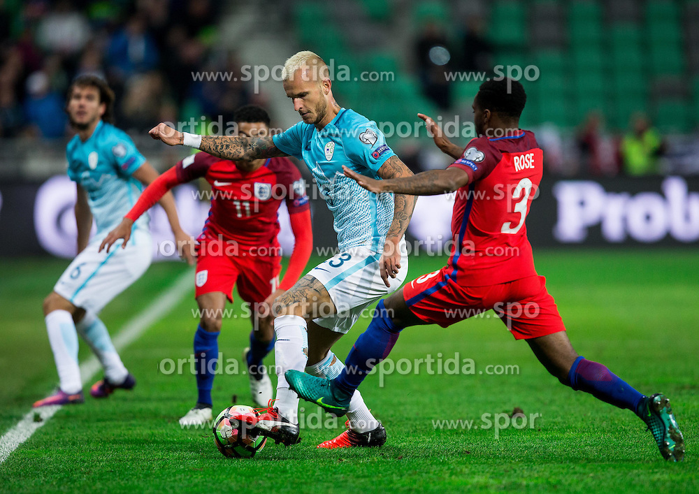 Aljaz Struna of Slovenia vs Jesse Lingard of England and Danny Rose of England during football match between National teams of Slovenia and England in Round #3 of FIFA World Cup Russia 2018 Qualifier Group F, on October 11, 2016 in SRC Stozice, Ljubljana, Slovenia. Photo by Vid Ponikvar / Sportida