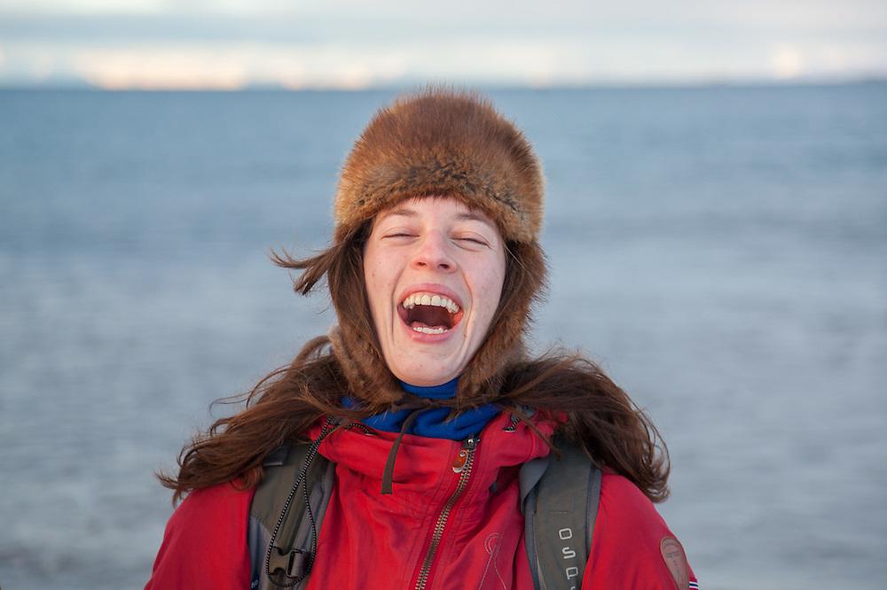 Heidi Lindebotten laughs on the beach in Longyearbyen, Svalbard.