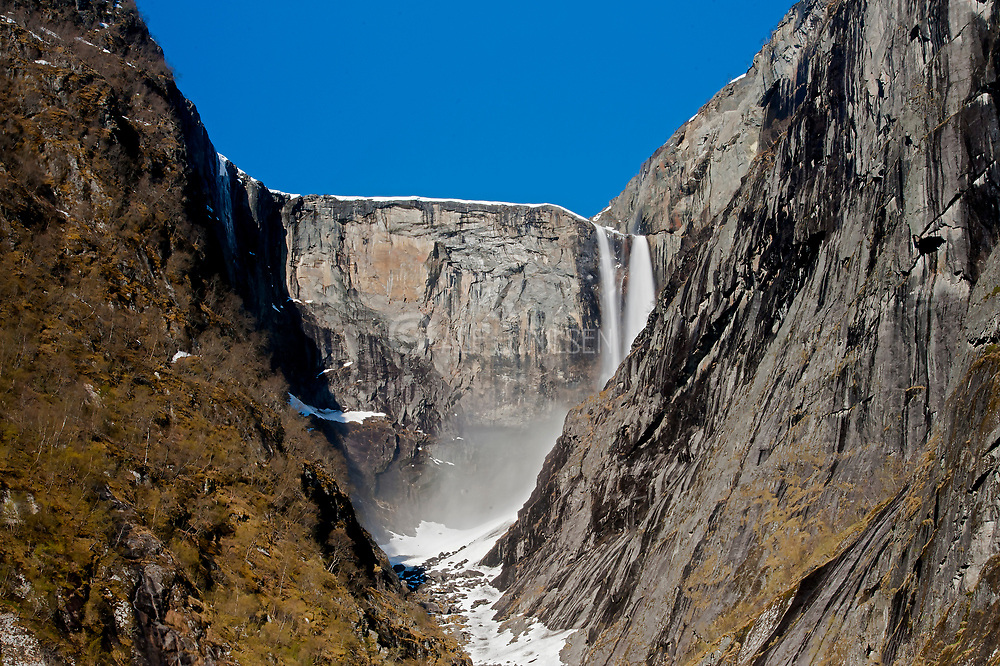 The magnificent Vedalsfoss, a steep waterfall in Hjolma Valley in Eidfjord, Hordaland, Norway. Photo from May 2015.