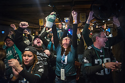 February 4, 2018 - Minneapolis, MN, USA - With the victory almost in had, Philadelphia Eagles fans could final release a lifetime of disappointment at the Blarney Pub and Grill on Sunday, Feb. 4, 2018, in Minneapolis, Minn. (Credit Image: © Richard Tsong-Taatarii/TNS via ZUMA Wire)