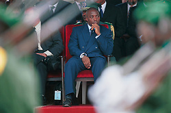 KINSHASA, DEMOCRATIC REPUBLIC OF CONGO - JUNE 30, 2001 - President Joseph Kabila, watches the military parade in Kinshasa, during independence day celebrations marking 41 years of independence from Belgium. (PHOTO © JOCK FISTICK)