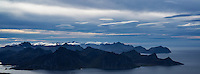 View over Flakstadøy from summit of Himmeltind, Vestvågøya, Lofoten Islands, Norway