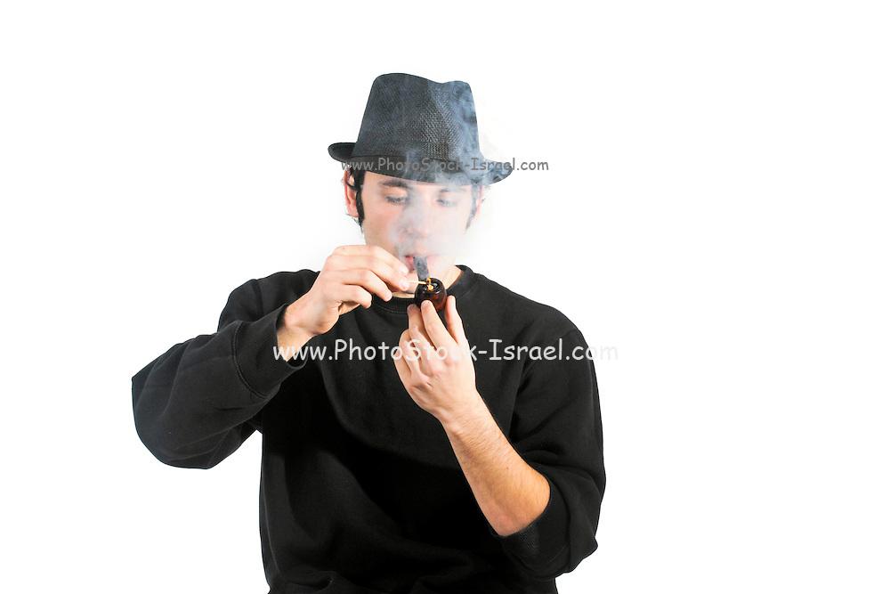 man smokes pipe On white Background