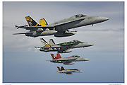F-18s in formation, air-to-air