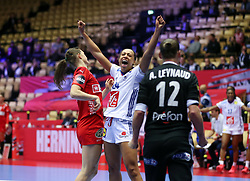 Beatrice Edwige celebrates a save from Amandine Leynyaud. EHF Euro 2020 Group A match between France and Denmark in Jyske Bank Boxen, Herning, Denmark on December 8, 2020. Photo Credit: Allan Jensen/EVENTMEDIA.