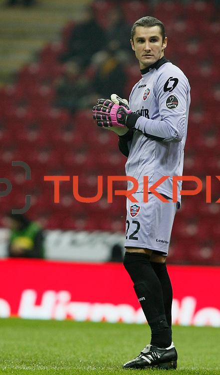 Kardemir Karabukspor's goalkeeper Orkun Usak during their Turkish Super League soccer match Galatasaray between Kardemir Karabukspor at the Turk Telekom Arena at Seyrantepe in Istanbul Turkey on Saturday 14 January 2012. Photo by TURKPIX