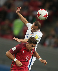 June 28, 2017 - Kazan, Russia - Marcelo Diaz (L) of the Chile national football team and André Silva of the Portugal national football team vie for the ball during the 2017 FIFA Confederations Cup match, semi-finals between Portugal and Chile at Kazan Arena on June 28, 2017 in Kazan, Russia. (Credit Image: © Igor Russak/NurPhoto via ZUMA Press)